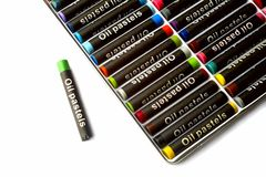 Oil pastels  in many colors on white Stock Image