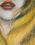 Oil pastels painting on canvas of woman with orange lips and long blond hair, drawing of closeup of face, mouth