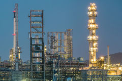 Oil petrochemical plant in night time Stock Photos