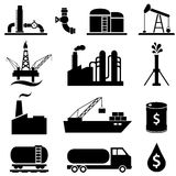 Oil petrol icon set. Oil and petroleum industry icons Stock Photo