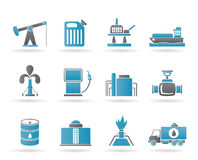 Oil and petrol industry icons Royalty Free Stock Photos