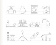 Oil and petrol industry objects icons Royalty Free Stock Image