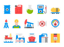 Oil and petrol industry objects. icons set of heavy industry. flat style design Royalty Free Stock Photography