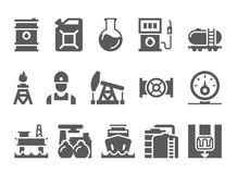 Oil and petrol industry objects. icons set of heavy industry, mining resources, tanker and fuel, energy industry vector illustration