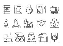 Oil and petrol industry objects. icons set of heavy industry, mining resources, tanker and fuel, energy industry. royalty free illustration