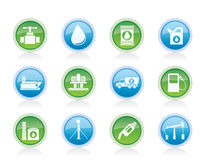 Oil and petrol industry objects icons Royalty Free Stock Photos