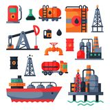 Oil petroleum extraction processing transportation recovery industry refinery fuel gas drilling industrial pump vector. Illustration. Tanker platform technology Royalty Free Stock Photos