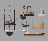 Oil and petroleum icon set. Oil drilling rig, vector illustration Royalty Free Stock Image