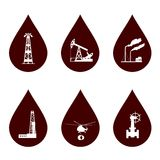 Oil and petroleum icon set. Oil and petroleum icon set in drops Stock Photography