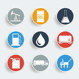 Oil and petroleum icon set. Flat design style eps 10 stock illustration