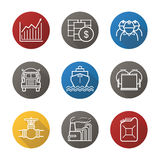 Oil and petroleum industry flat linear long shadow icons set Stock Images
