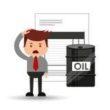 Oil and petroleum industry sad businessman finance. Vector illustration eps 10 Stock Images