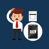 Oil and petroleum industry sad businessman finance. Vector illustration eps 10 Royalty Free Stock Images
