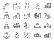 Oil and Petroleum line icon set. Included icons as power, fuel, energy, gas station, crude oil and more. Vector and illustration: Oil and Petroleum line icon royalty free illustration