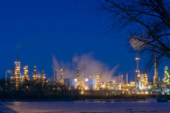 Oil Refinery at Night in St. Paul Park royalty free stock photography