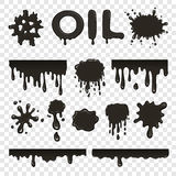 Oil or petroleum splat collection. Set on transparent background Royalty Free Stock Images