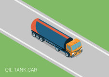 Oil petroleum tank car tanker flat 3d web isometric concept Royalty Free Stock Photography