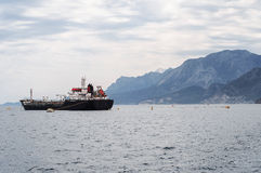 Oil and petroleum tanker. Ship anchored in sea stock photography