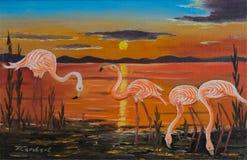 Four flamingos on one shore at sunset royalty free illustration