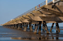 Oil pier in the North Sea. A Oil pier in the North Sea, Germany stock image