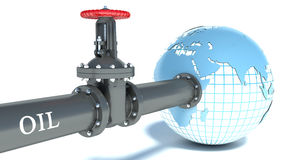 Oil pipe attached to the globe Royalty Free Stock Image