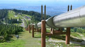 Oil Pipe Line Over Mountain stock photography