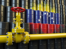 Oil pipe line valve in front of the flag of Venezuela on the oil Stock Photos