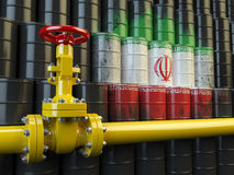 Oil pipe line valve in front of the Iranian flag on the oil barrels Stock Photo