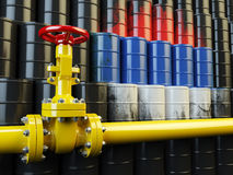 Oil pipe line valve in front of the russian flag on the oil barr Stock Photo