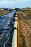 Oil Pipeline. An active oil pipeline in Wester, Sinclair Bay, Caithness, Scotland Royalty Free Stock Photo