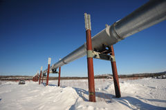 Oil pipeline in alaska Stock Images
