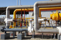 Oil pipeline. Oil field scene, oil pipelines and facilities stock photos