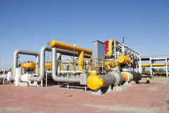 Oil pipeline. Oil field scene, oil pipelines and facilities royalty free stock image