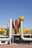 Oil pipeline. Oil field scene, oil pipelines and facilities stock image