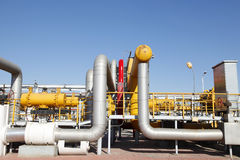 Oil pipeline. Oil field scene, oil pipelines and facilities stock images