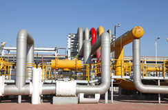 Oil pipeline. Oil field scene, oil pipelines and facilities stock photography