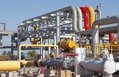 Oil pipeline. Oil field scene, oil pipelines and facilities stock photo