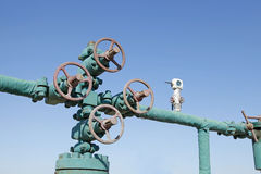 Oil pipeline. Oil field scene, oil pipelines and facilities royalty free stock images