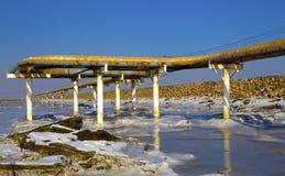 Oil pipeline. Oil industrial zone of oil pipeline royalty free stock image