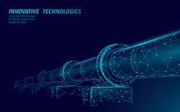 Oil pipeline low poly business concept. Finance economy polygonal petrol production. Petroleum fuel industry. Transportation line connection dots blue vector vector illustration