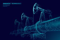Oil pipeline low poly business concept. Finance economy polygonal petrol production. Petroleum fuel industry. Transportation line connection dots blue vector royalty free illustration