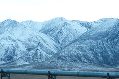 Oil pipeline with mountain Stock Images