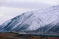 Oil pipeline with mountain Stock Photo