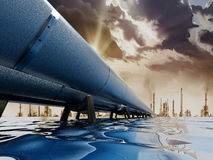 Oil pipeline passing through the sea leading to city. Oil pipeline passing through the sea leading to big city Royalty Free Stock Image