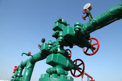 Oil pipeline. Piping and valves of oil field, close-up stock photos