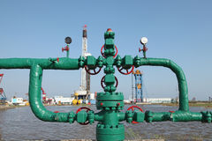 Oil pipeline. Piping and valves of oil field, close-up stock photo