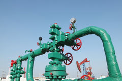 Oil pipeline. Piping and valves of oil field, close-up stock photography