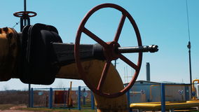 Oil pipeline stop valve. Transportation of oil products and natural gas. Pipeline at the processing plant. Gas and oil stock video