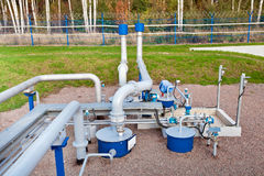 Oil pipeline. Oil storage and pipeline outdoor stock photo