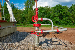 Oil pipeline with the tap valve Royalty Free Stock Photography